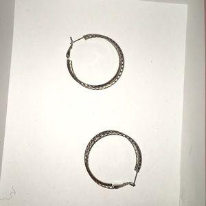 Silver hoop earrings with double hoops